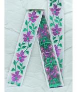 Vintage French Woven  Jacquard Violet Flower Ri... - $8.00