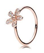 Rose Gold Plated Dazzling Daisy Cubic Zirconia Ring For Women QJCB887 - $19.99