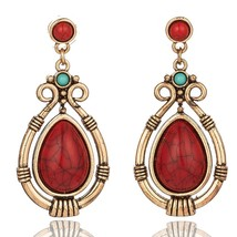 Vintage Ethnic Hanging Dangle Drop Earrings with Water Drip Nature Stone for Wom - $6.97