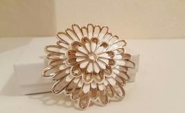 Vintage White Enamel Painted Modern Floral Burst Statement Brooch  - $0.00