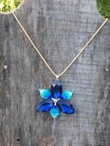 Crystal Blue Flower Pendant - $9.99
