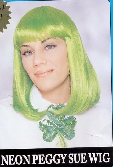 SHOULDER LENGTH WIG With BANGS GREEN!