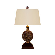 "Oriental Bronze Brass Peacock Emblem Table Lamp 18"" - $247.49"