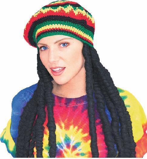 RASTA KNIT STRIPED BERET WITH WIG  Bonanza