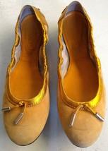 $495 TOD'S Women's Yellow Gold Ballerina Ballet Flats Shoes Sz 38 Tassel... - $58.06