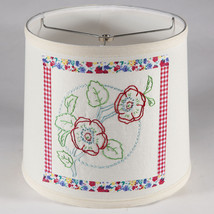 Vintage Floral Embroidered Quilt Fabric on New Lamp Shade - Free Ship - $37.40