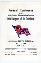 United Daughters of the Confederacy Annual Conference Program Newberry S... - $27.72
