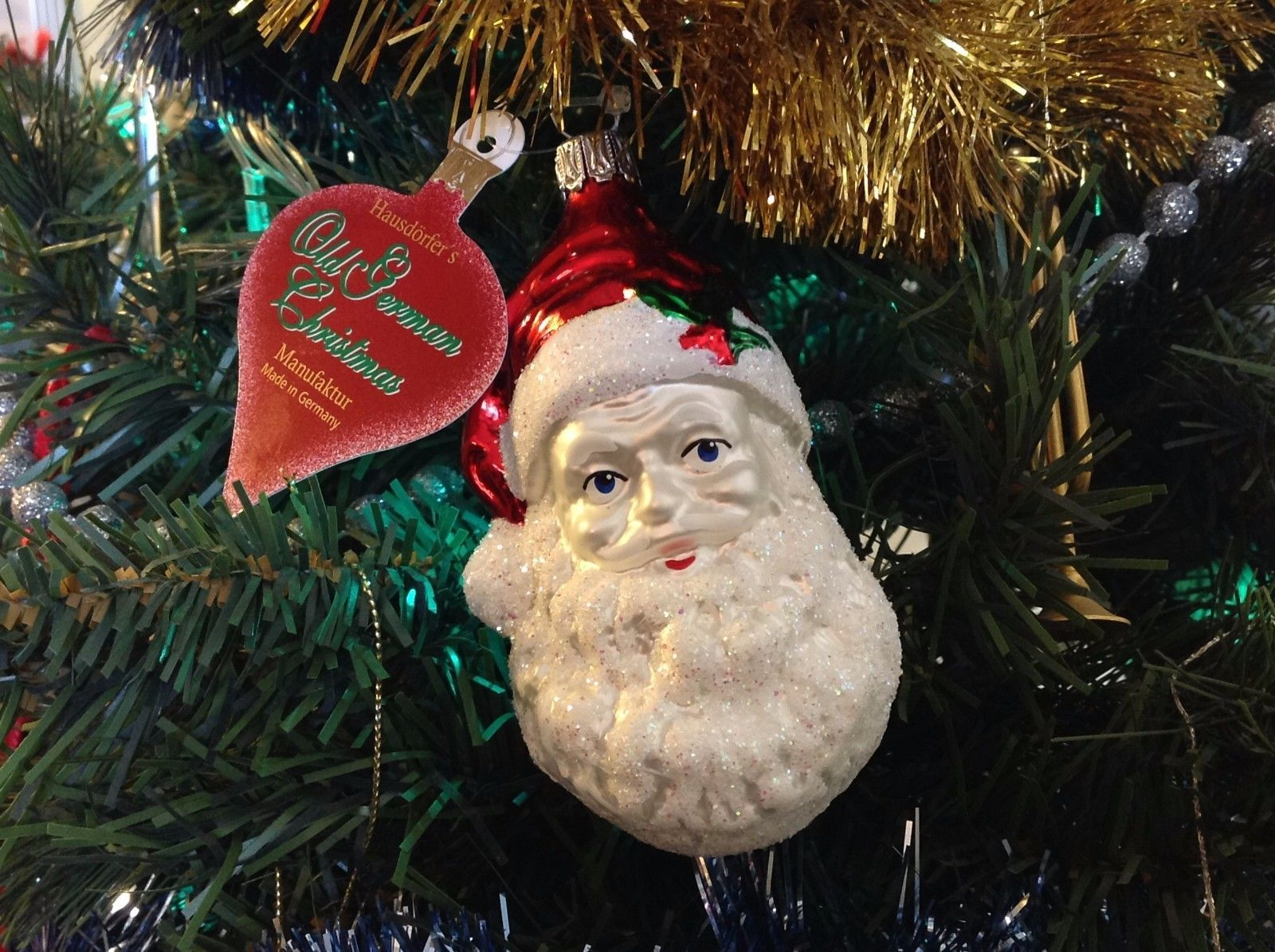 Old German Christmas Hand Painted Glass Ornament Santa Head Made In Germany