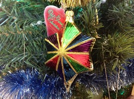 Old German Christmas Hand Painted Glass Ornament Star Multicolor Made In Germany
