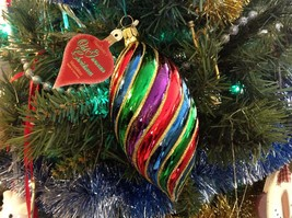 Old German Christmas Hand Painted Glass Ornament Multicolored Shuttle - $39.99