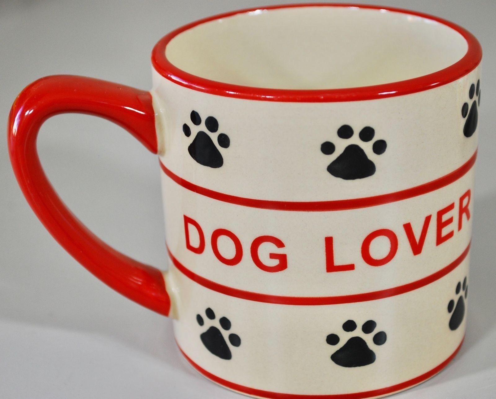 """Dog Lover"" Coffee Mug - Paw Prints  - Pets Animals Puppies Dog Mom Family"
