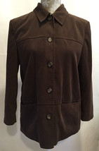 Talbots Career Work Long Sleeve Brown 2 Pocket Stretch Button Blouse Jac... - $37.93