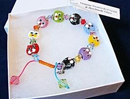 "6""+1"" Glass KITTEN Beads & Crystals Adjustable ... - $29.99"