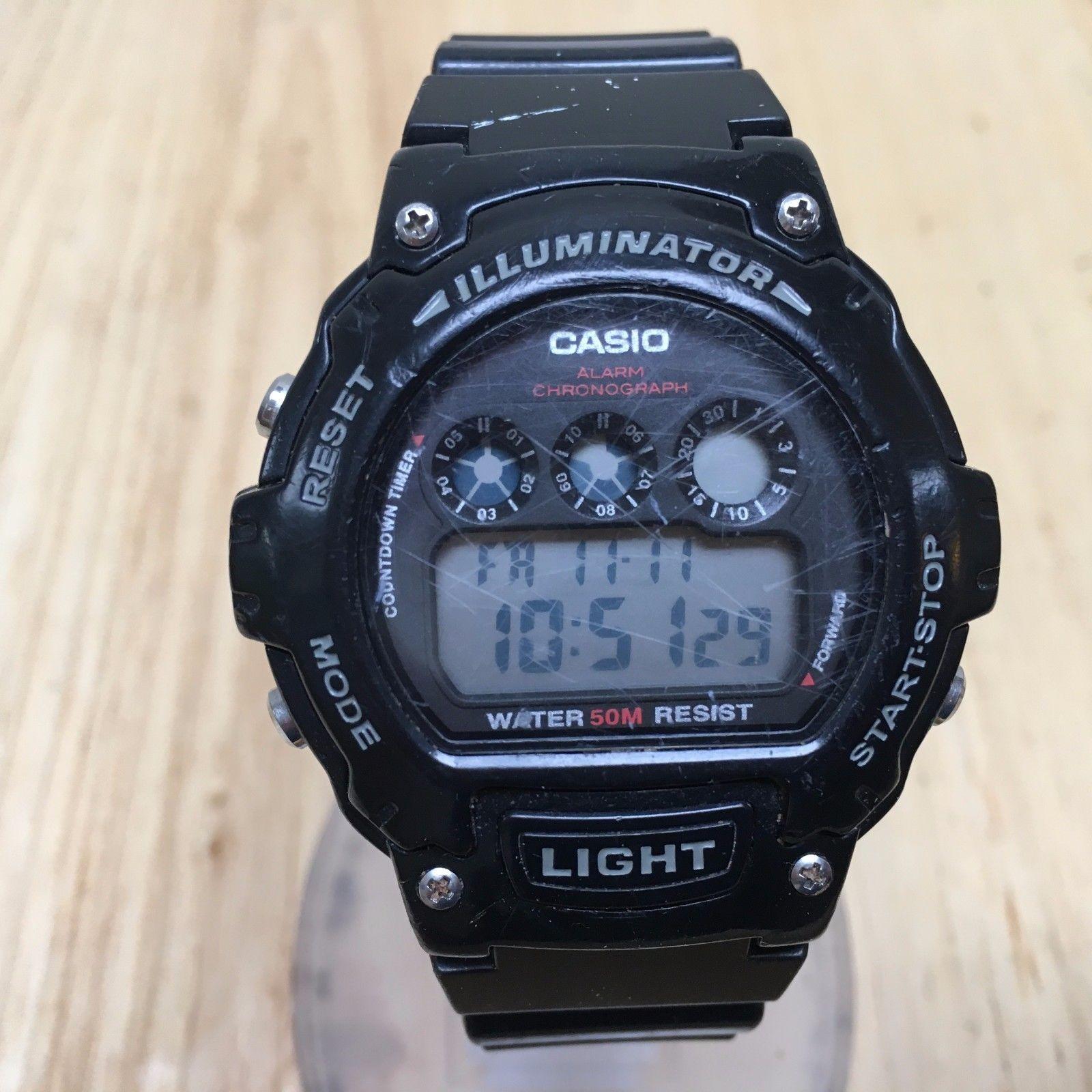 CASIO Illuminator W-214HC Mens LCD Digital Alarm Chrono Watch Hours~New Battery