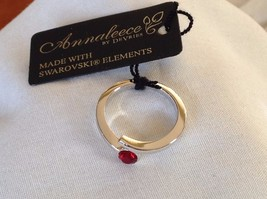 New With Tags NWT Annaleece Ring Birthstone Rhodium Ruby Round Stone Size 7