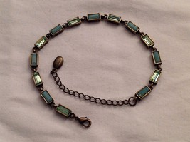 New Without Tags NWOT Annaleece Antique Gold 14 Rectangle Blue Aqua Brac... - $34.64
