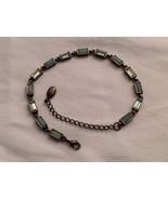 New Without Tags NWOT Annaleece Antique Gold 14 Rectangle Blue Aqua Brac... - $34.64