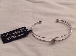 New WithTags NWT Annaleece Stellar Bangle Bracelet Rhodium Silver Swarovski Star