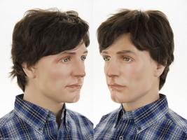 Short Human Hair Grey Straight Monofilament Hand Tied Men's Premium Qual... - $148.99