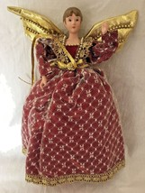 Porcelain Christmas Angel Tree Topper Ornament Burgundy Gown Lace Overla... - $29.95