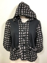 KIMCHI & BLUE Big Buttoned Black Gray Hooded Knit Jacket Shirt Sz XS Che... - $26.14