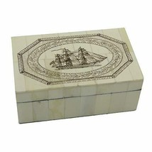 Sea Horse /& Mermaid Scrimshaw Bone Jewelry Trinket Box Antique Vintage Style