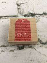 Holiday Wooden Stamp Hero Arts 2004 Gift Tag Bright - $11.88