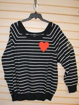 New Torrid Womens Plus Size 6X 6 Black & White Striped Red Heart Knit Sweater - $38.69