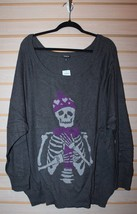New Womens Plus Size Gray Skull 5X 5 Skeleton Is Cold Raglan Sweater Shirt Top - $38.69