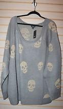 New Torrid Womens Plus Size 6X Gray W Gold Skulls Lurex Raglan Sweater Shirt Top - $38.69