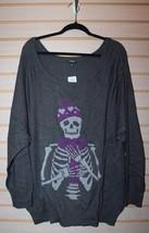 New Womens Plus Size Gray Skull 6X 6 Skeleton Is Cold Raglan Sweater Shirt Top - $38.69