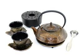 Bronze Japanese Koi Cast Iron Combo Tea Gift Set - $169.99