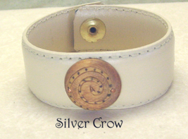 Beige Leather Wood Focal Cuff Bracelet - $16.99
