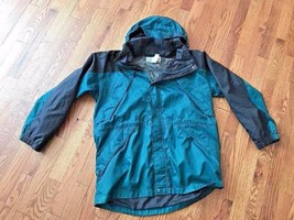 LL Bean Hunter Green Black Windbreaker Jacket w/ Hood - Kids Size L (14-16) - $21.49