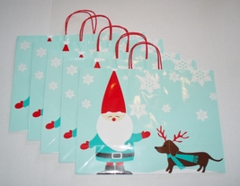 "Set of 5 Large Dachshund & Elf Christmas Holiday 16"" x 12"" x 6"" Gift Bags - $35.00"