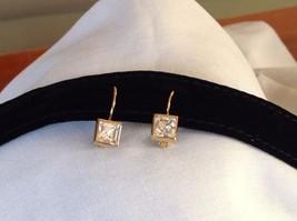 New NWT Annaleece 22 Karat Gold Square Clear Swarovski Stone Earrings image 3