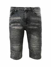 Men's Distressed Denim Faded Wash Slim Fit Moto Quilt Skinny Jean Shorts image 8