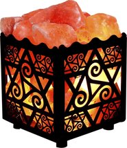 Crystal Decor Natural Himalayan Salt Lamp in Star Design Metal Basket wi... - $29.95