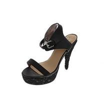 91e6945dea37e7 Colin Stuart New Black Lace Overlay Platform Heels Sandals Shoes 8.5M -   22.99