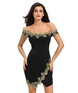 Gold Lace Applique Black Off Shoulder Mini Dress - $22.95