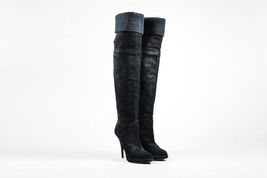 Givenchy Black Suede Knit Top Opening Thigh High Heel Boots SZ 38 - $215.00