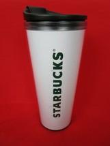Starbucks Plastic Travel Mug Tumbler White with Logo 16 Oz. Authentic - $18.00
