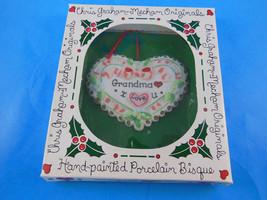 Chris Graham Mecham Grandma I LOVE You 1996 Porcelain Heart Christmas Ornament - $8.41