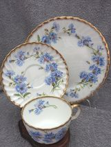 BEAUTIFUL ADDERLEY TRIO CUP SAUCER PLATE BLUE BACHELOR BUTTONS CORNFLOWERS - $29.88