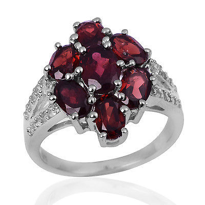 Cluster Garnet Engagement Band 925 Sterling Silver Jewelry Ring SZ 7 SHRI0703