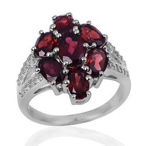Cluster Garnet Engagement Band 925 Sterling Silver Jewelry Ring SZ 7 SHR... - $30.76