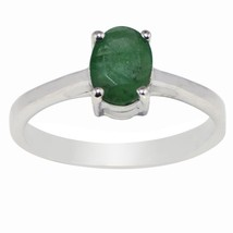 Emerald 7X5 MM Oval Gemstone Solid 925 Sterling Silver Ring Size 6.5 SHR... - £21.16 GBP