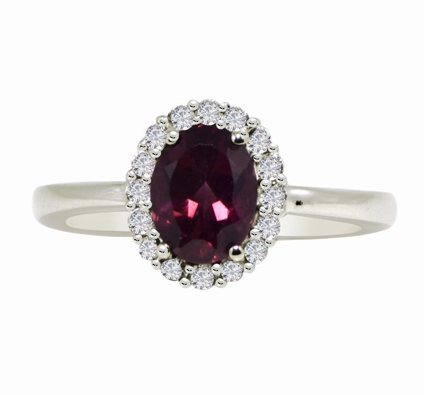 Rhodolite Garnet 925 Sterling Silver Rhodium Flash Wedding Ring Sz 7.5 SHRI0540