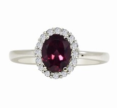 Rhodolite Garnet 925 Sterling Silver Rhodium Flash Wedding Ring Sz 7.5 S... - $23.33
