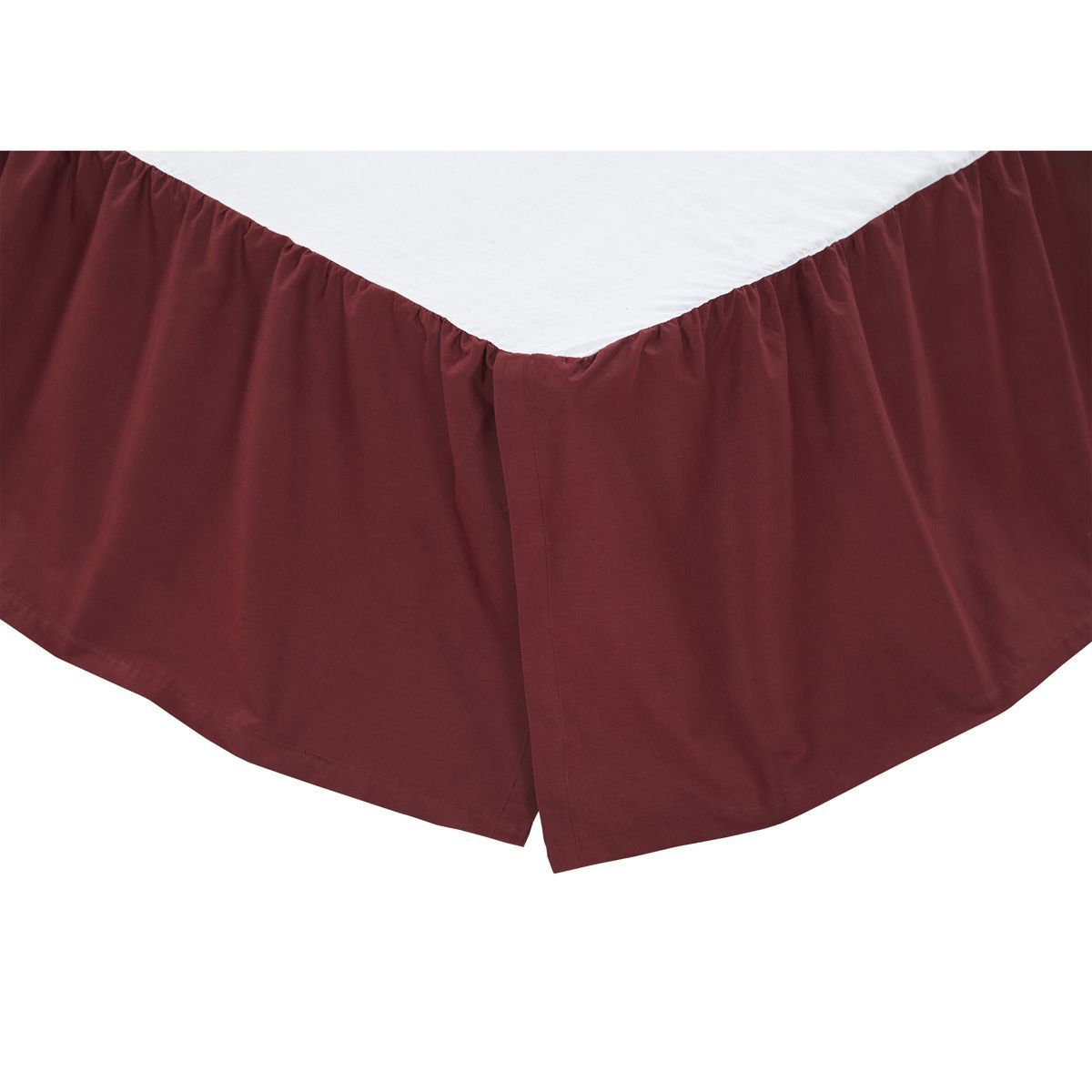 Solid Burgundy 100% Cotton King Bed Skirt,VHC,Dust Ruffle for Ninepatch Quilt - $39.95